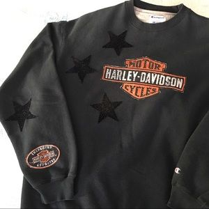 Harley Davidson Black Star Patch Bling Sweatshirt